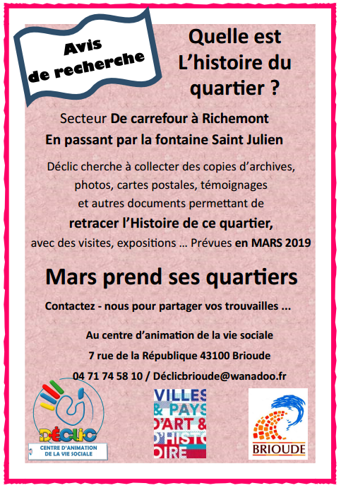 COLLECTE D'ARCHIVES DU QUARTIER SAINT FERREOL